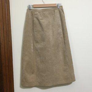 70's Vintage Abe Schrader Suede Midi Skirt